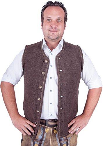 Almwerk Herren Trachten Strick Weste Modell Xaver, Farbe:Braun;Größe:54