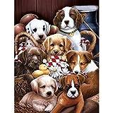 Pintura Por Numeros Diy Dog Set Painting Animal Wall Painting Decoración Para El Hogar A7(40X50Cm Sin Marco)