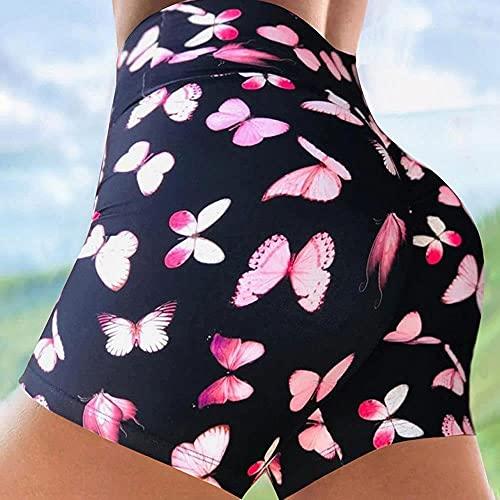 ArcherWlh Leggings Womens Butt Lift,Pantalones Cortos de Yoga Alice Ladies Hip Pants Sports Fitness Tie Dye Cintura Alta-Ilustracin de Mariposa Rosa_SG