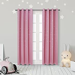 Anjee Kids Curtains Punched Out Stars Pink Curtains for...