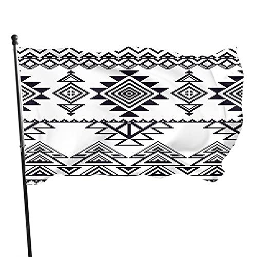 Tcerlcir Bandera de jardín Geométrica Tribal Línea étnica Raya Triángulo Cuadrado Mosaico Forma Boho Durable Casa Bandera de Patio Celebración estacional Hogar Jardín Bandera Bandera 90 x 150 cm