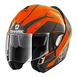 Shark Evoline 3 Hataum H.V. OKA - Casco de moto, color negro y naranja