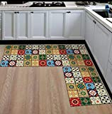 GS Traders Collections Kitchen Floor Mats Runner with Anti Skid Backing, Set of 2 (40 x 120 & 40 x 60 cm) (Design - 11)