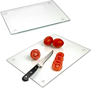 Tempered Glass Cutting Board – Long Lasting Clear Glass – Scratch Resistant, Heat Resistant, Shatter Resistant, Dishwasher Safe. (2 Large 12x16