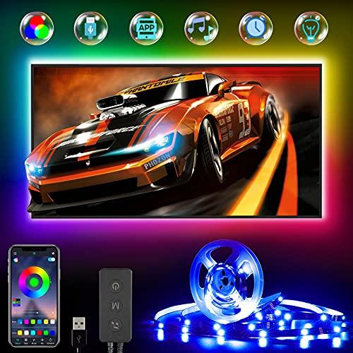 LED TV Hintergrundbeleuchtung, RGB LED Strip 4M für 45-75 Zoll Fernseher und PC, USB betrieben, Über Bluetooth App-Steuerung LED Streifen, Zur Musik Synchronisierte Smart Led Beleuchtung…
