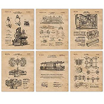 Vintage Locomotive Engine & Car Body Patent Prints Set of 6  8x10  Unframed Photos Wall Art Decor Gifts Under 20 for Home Office Man Cave College Student Teacher Coach Railroad Train Fan