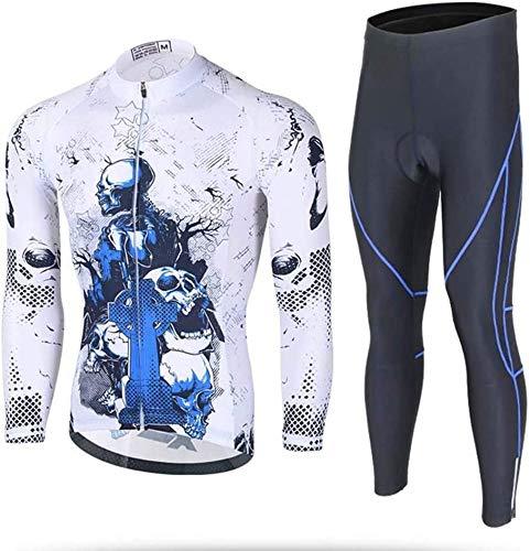 Jersey De Ciclismo con Mangas Largas Conjunto De Jersey De Ciclismo Tops con Traje Y Pantalón De Uniforme,A-XL