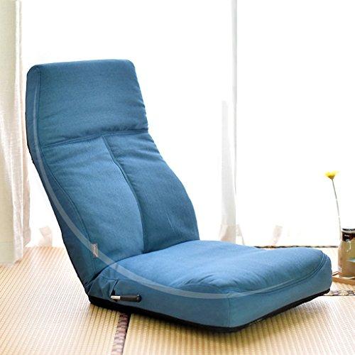 Sofa paresseux individuel de tissu de salon de chaise de dossier pliable -LI JING SHOP (Couleur : Bleu)
