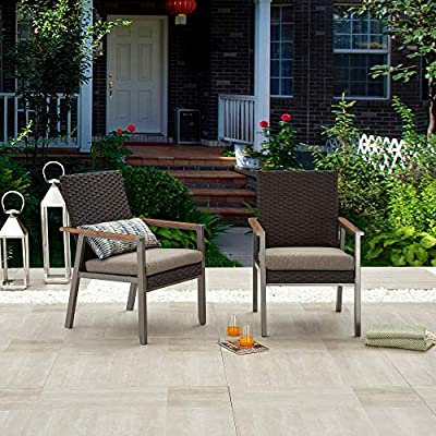 LOKATSE HOME Outdoor Wicker Patio Rattan Dining Set of 2 with Gray Cushion, 2 Chairs