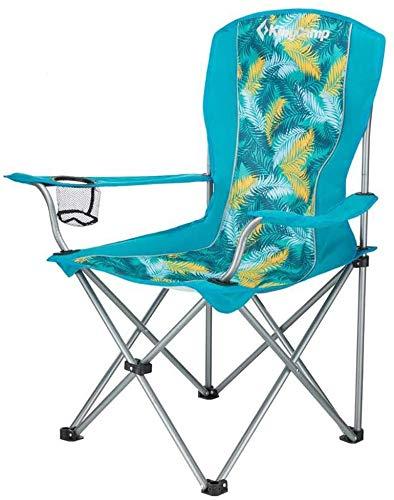 WZF Silla Plegable para Acampar, Asiento de Viaje portátil Ligero para Pesca al Aire Libre para Festivales (soporta hasta 264 LB / 120 kg) con portavasos (Color: Verde Palma)