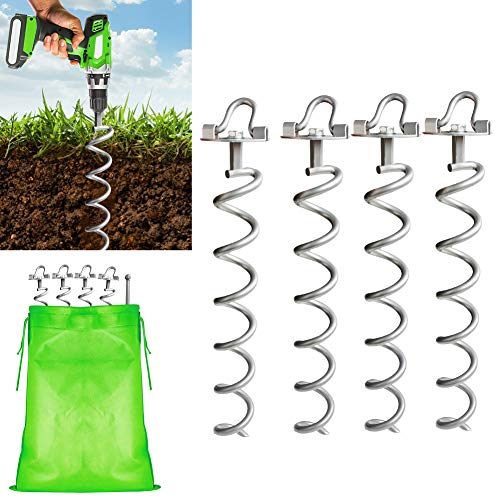 MIXXIDEA16.2 Inch Silver Folding Ring Spiral Ground Anchors Metal Ground Stakes Dog Tie Out Stake Spiraling Anchor Trampoline Anchors for Tent, Securing Trampolines, Garden Fence Sheds Swings, 4 Pack