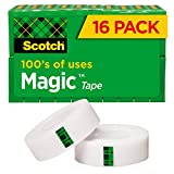 Scotch Magic Tape, 16 Rolls, Numerous Applications, Invisible, Engineered for Repairing, 3/4 x 1000 Inches, Boxed (810K16 )