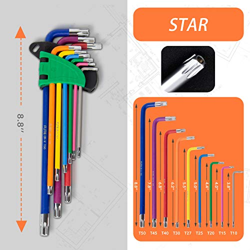Hex Key Allen Wrench Set, Metric, Imperial, Torx, Star Long Arm Ball End Hex Key Set Tools, Industrial Grade Allen Wrench Set with Storage Bag