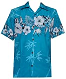Hawaiian Shirt 35 Mens Bamboo Tree Print Beach Aloha Party Holiday Turquoise XL