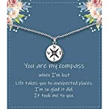 Necklace Gifts for Girlfriend/Wife/Best Friends Sterling Silver Cute You are My Compass Necklace for Her Valentines Day, Unique Romantic Anniversary Birthday Gift Ideas
