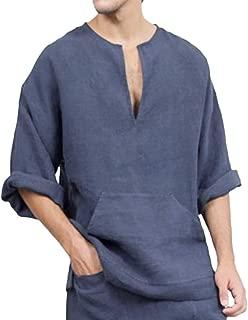 Cotton Linen Shirt for Men Loose Solid Long Sleeve Thai Beach Top Pullover Henley Shirt