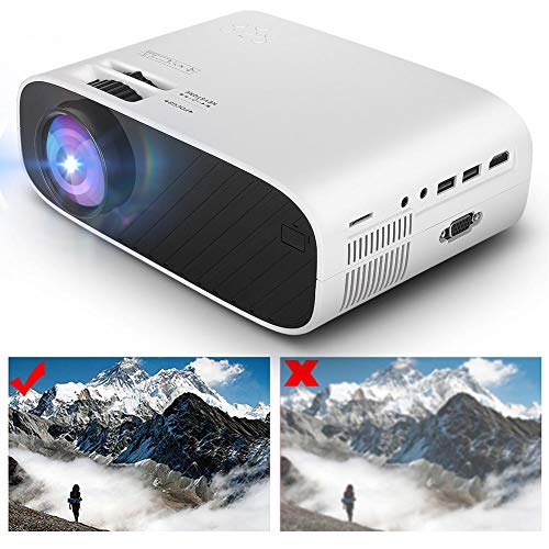 Sxhlseller 1280 x 720 Projector - Video Projector Support AV USB Input/Large Memory Card or Small TF Card Reader HDMI Input - Support MP3/ WMA/AAC Audio Files(UK)