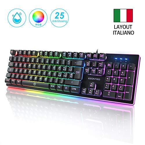 EZONTEQ Tastiera da Gioco RGB LED Retroilluminazione Scelta di 8 Colori 25 Tasti Anti-ghosting Layout Italiano(QWERTY) Tastiera Cablata USB per PC PS4 Xbox Mac