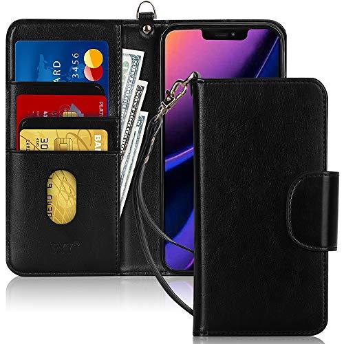 FYY Handyhülle für iPhone 11 6.1, iPhone 11 Hülle, Lederhülle mit Standfunktion & Kartenfach TPU Innenraum und [RFID-Schutz] Handytasche für Apple iPhone 11 6.1 Zoll (2019)-Schwarz