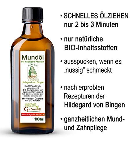 Mundöl zum Ölziehen | BIO-Inhaltsstoffe | Kurze Ölzieh-Zeit | Mundwasser-Ersatz | Kräuter nach Hildegard von Bingen | Vegan | 100ml