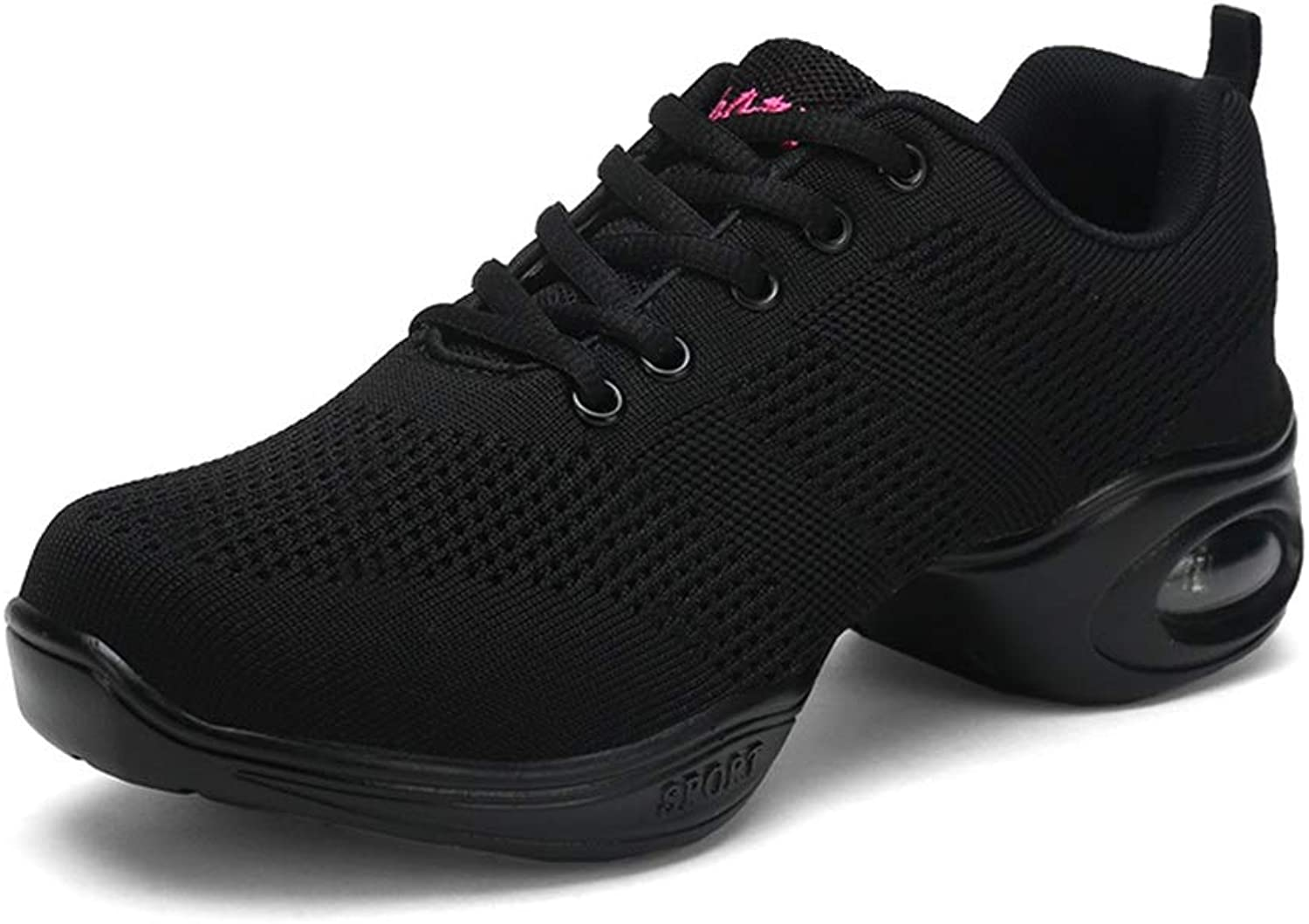 Women's Comfortable Breathable Weave Vamp Lace Up Performance Dance shoes Modern Ballroom shoes for Ladies (color   Black, Size   4.5 D(M) US)