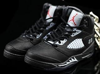 best website 5ac7e d8ce0 Air Jordan V 5 Retro Black Metallic Silver 23 OG Sneakers Shoes 3D Keychain  Figure