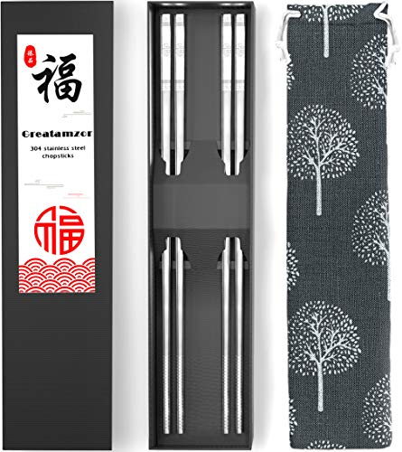 Metal Chopsticks 304 Stainless Steel Chopsticks Reusable Dishwasher Safe Square Japanese Chinese Korean Chop sticks for Cooking Eating with Travel Carrying Cotton Bag Gift Set, 9 1/2 Inches (2 Pairs)