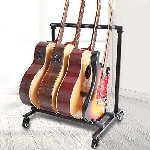 Cikonielf - Soporte para guitarra de 5 cabezales, soporte para bajo, soporte para rack múltiple con rueda giratoria para 5 guitarras eléctricas/bajos.