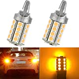 DEAL 2pcs 7440 Super Bright Yellow/Amber DC 12V 30-SMD LED Bulbs For Front Rear Turn Signal/Side Marker/Backup/Reverse/Stop/Brake Tail Light Lamp Single Filament