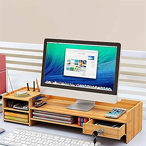 Frixen Computer Monitor Desk Wooden Riser Stand for Home & Office Organizer Computer Monitor Stand for PC Laptop TV Screen Riser Desk