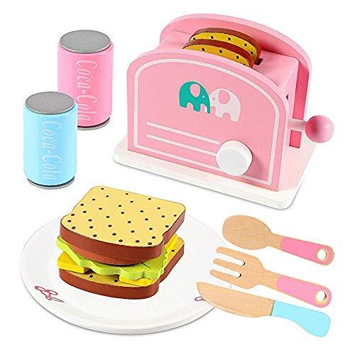 ZhaoXH 2-Scheiben-Toaster Holz Kid Spielzeug-Set Pop Up Toaster Wiedergabe Speisen und Küchenzubehör Pretend Play Kitchen Set für Kinder Kinder Toddles