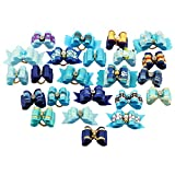 PET SHOW Pack of 20 Mixed Styles Small Dog Hair Bows with Rubber Bands Pet Cat Puppy Topknot Grooming Accessories Blue