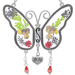 Mom Butterfly Mother Suncatcher with Pressed Flower Wings - Butterfly Suncatcher