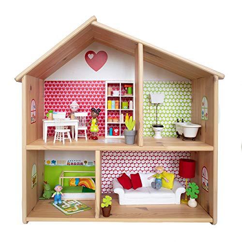 Limmaland Puppenhaus Tapete für IKEA FLISAT Holz Puppenhaus - Möbel Nicht inklusive - byGraziela Design