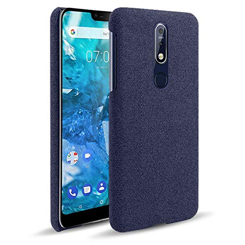 Yoodi Capa para Nokia 7.1, Capa Tecido Pano de lona & PC Dura Capa Fina Leve Case Cover - Azul