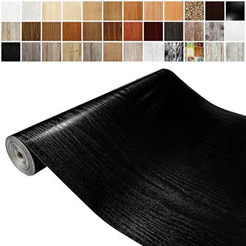 Askol DecoMeister Klebefolien in Holz-Optik Holzfolien Deko-Folien Holzdekor Selbstklebefolie Möbelfolie Selbstklebend Holz-Maserung 90x100 cm Schwarzholz