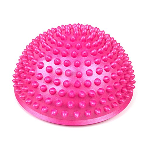 lRICE-sport Semi-Spherical Ball Foot Massage Pad Child Balance Training Ball Touch Ball Durian Ball Fitness Yoga Ball - Rose Red