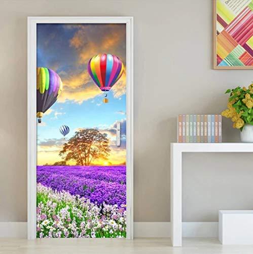 Romántico globo aerostático flor mar pared pegatina para puerta sala de estar dormitorio decoración del hogar pasta PVC papel tapiz autoadhesivo murales 3D