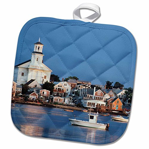 3D Rose USA-Cape Cod-Massachusetts-Provincetown Harbor and Town. Pot Holder, 8 x 8
