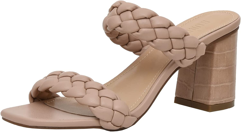 Dunes Women's Iris braided Heel Sandal +Memory Foam Insoles