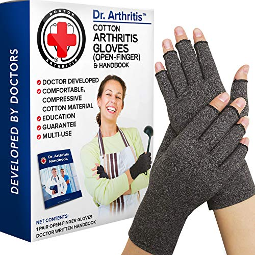 Doctor Developed Compression Gloves / Arthritis Gloves for Women & Men and Doctor Handbook - Useful for Arthritis, Raynauds, RSI, Carpal tunnel (L)