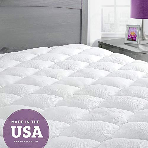 eLuxurySupply Mattress Topper King Bed - Bamboo Mattress Pad with Fitted Skirt - Extra Plush Cooling...