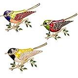 CAILI 3 Spilla di Uccello,Superba Spilla Animale,Spilla di Olio Dipinto di Rami di Alta qualità,Punta per Punte Squisita,Gioielli in Lega di Moda Unisex Perfetti