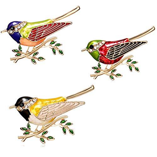 CAILI 3 pcs Broche del Pájaro, Broche Aceite de la Pintura de la Rama, Perno Hermoso del Taladro del Punto de la Joyería de la Aleación