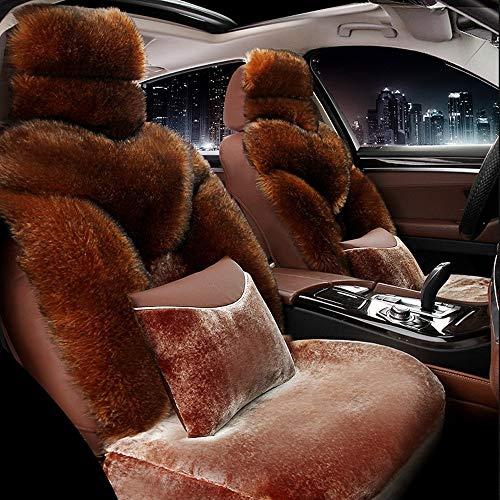 DX voor autostoel, 5-zitsvolle set universele airbags voor en achter comfort warm velvet beschermend kussen voor de winter bruin