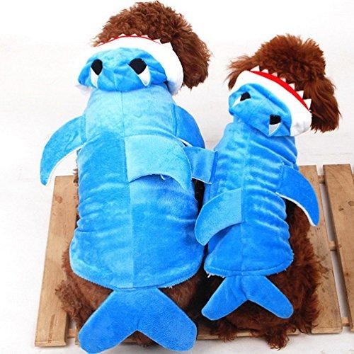 Pegasus Selmai Costume de requin à capuche en polaire doublé pour chien de petite taille Bleu Taille S