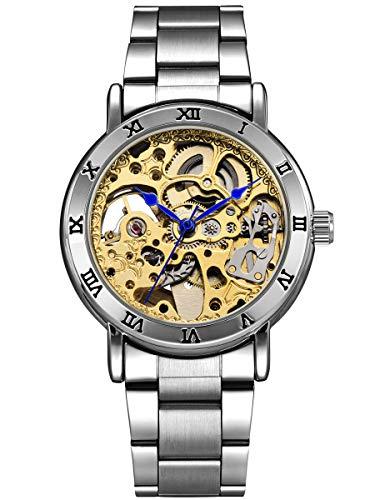 Alienwork Damen Herren mechanische Automatik-Uhr Silber mit Edelstahl Metallarmband Gold Skelett