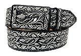 Men's Silver Embroidered Western Belt, Cinto Charro Bordado Plateado Cinto Vaquero (36, Black)