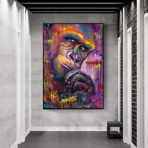 Obra de arte pensando en la pared del orangután Graffiti Art Canvas Painting Animal abstracto Art Canvas Poster Prints Imagen para la habitación de los niños Decor del hogar 80x120cm Sin marco
