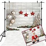 Mehofoto Telón de Fondo de Navidad 5x7ft Vinilo Bola de Navidad Estrella roja Pared de Madera Foto Telones de Fondo Decoración de Nochebuena Fotografía de Fondo